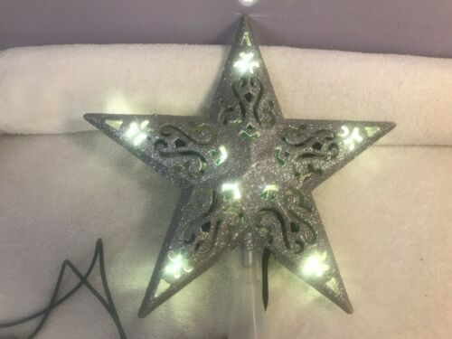 Christmas tree topper 5 point lighted star silver glittered covered EX5085