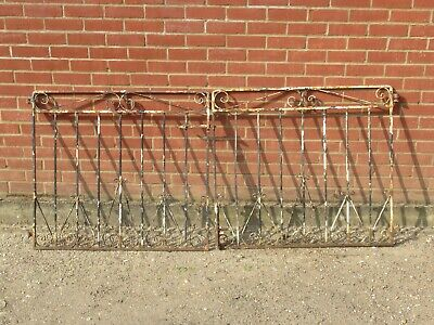 PAIR OF VINTAGE ANTIQUE IRON GARDEN GATES FOR 7 FOOT DRIVEWAY OLD RECLAIMED