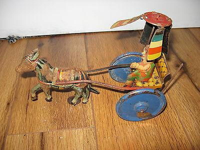 Vintage GAMA Germany Tin Wind up Toy Clown Donkey Cart Rare Clockwork Rare