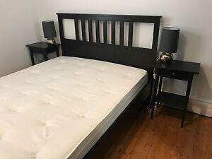 Ikea Queen HEMNES bed, Mattress, 2x bedside tables, 2x lamps Mosman Mosman Area Preview