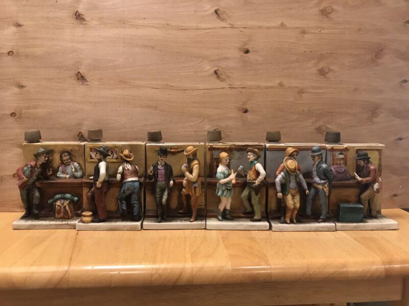 """RARE FULL SET """"Last Chance"""" Cologne Bar Room Scene Decanter Set, All Bottles Ful"""