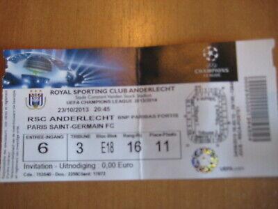 Ticket: Anderlecht - PSG Paris Saint-Germain UEFA (23-10-13)