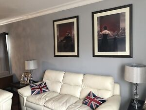 2 Large Custom framed pictures EUC