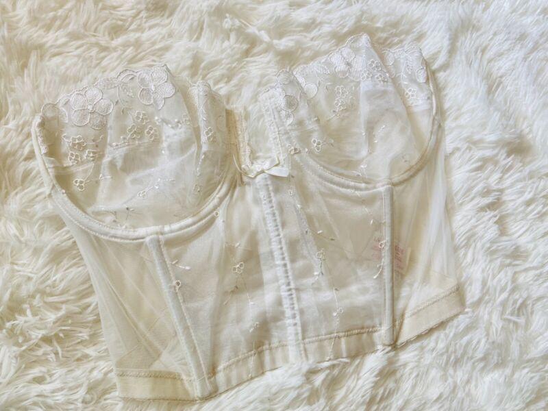 Lady Marlene Vintage Size 34D Corset Style 221 Strapless Ivory Lace