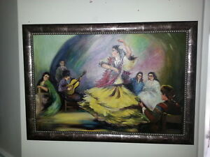 Original Vintage Oil Painting by Da Silva - Flamenco Dancer