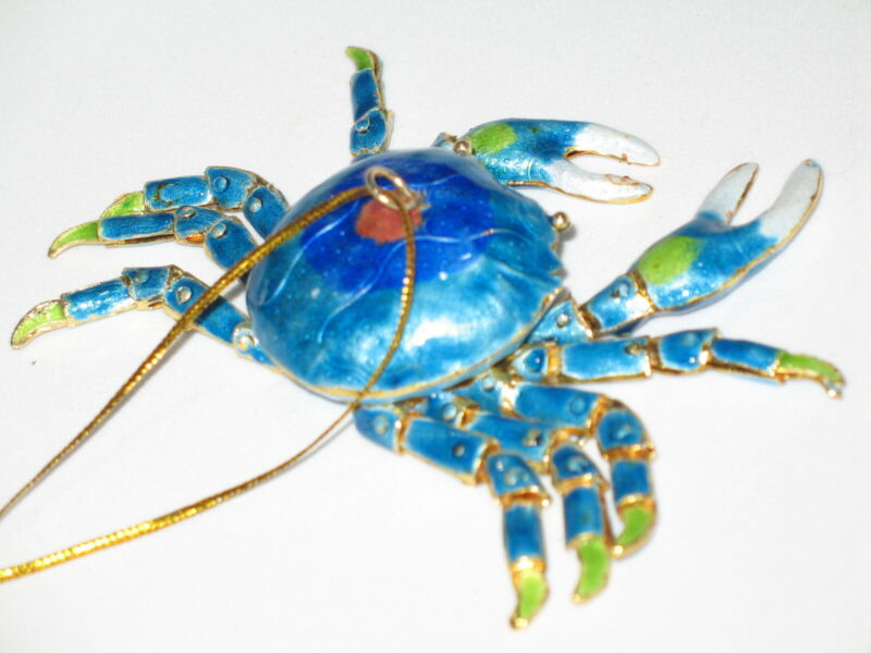 Kubla Cloisonne Articulated blue crab. Nice!!