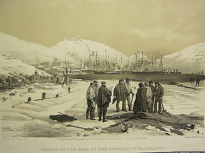1855 DATED ANTIQUE PRINT ~ GRAVES AT HEAD OF THE HARBOUR BATTLE OF BALAKLAVA