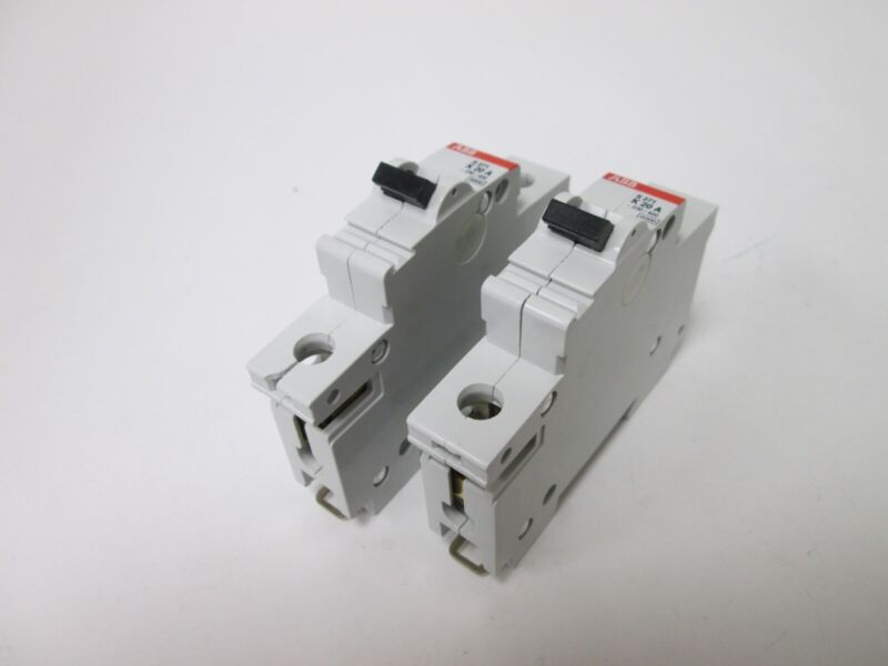 Lot of 2 ABB S 271 K20A Circuit Breakers, 1-Pole, Rating: 240VAC 20A, DIN Rail
