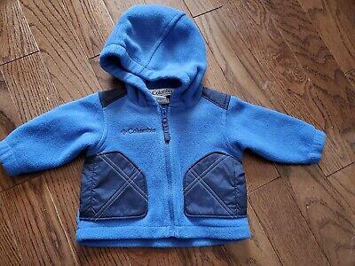Columbia Baby Boys' Fleece Size 6 9 months blue coat jacket Hooded zipup