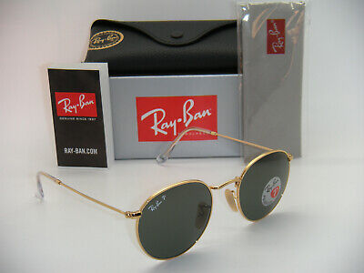 Authentic Ray-Ban Round Metal RB 3447 001/58 50mm Gold / Green Polarized (Ray Ban Rb3447 Round Metal Polarized)