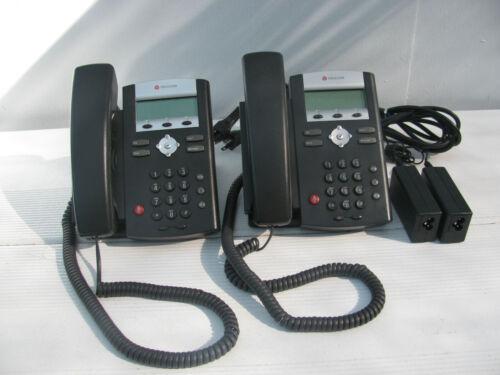 2  Ip 331 Phone Polycom Soundpoint Poe Sw 10/100 2201-12365-001 & Ac Adapters