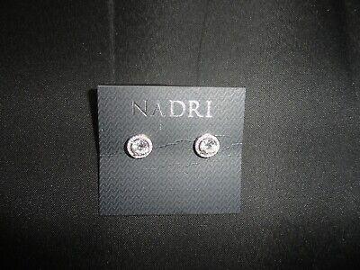 New Nadri Crystal Round Framed Halo Stud Earrings Framed Quartz Earrings
