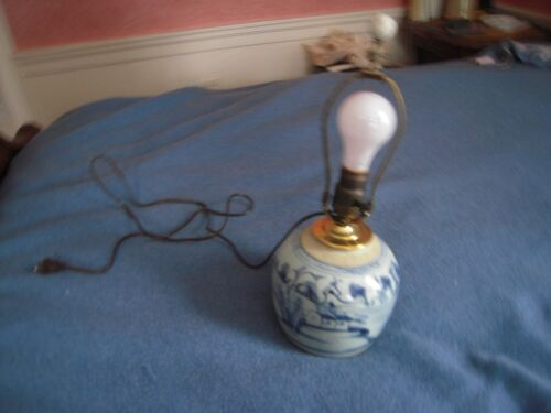 ANTIQUE CANTON GINGER JAR LAMP C. 1850
