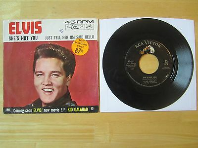 Elvis 45rpm record & Sleeve, She's Not You/Just Tell Her Jim Said Hello, 1962