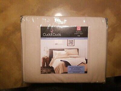 Cuddl Duds Queen Size Heavyweight Flannel Sheet Set (Tan) Deep Pocket 17