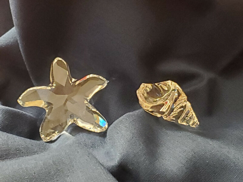 Swarovski Crystal Set of 2 Conch Sea Shell and Starfish Figurine - Excellent!