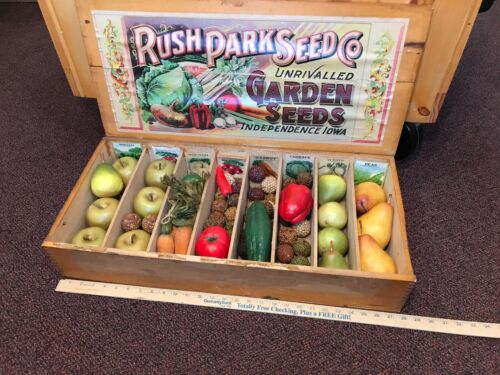 Antique Wooden Seed Box Rush Park Seeds of Independence Iowa Advertising