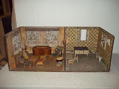 alte Puppenstube Wohnraum - Küche mit Zubehör