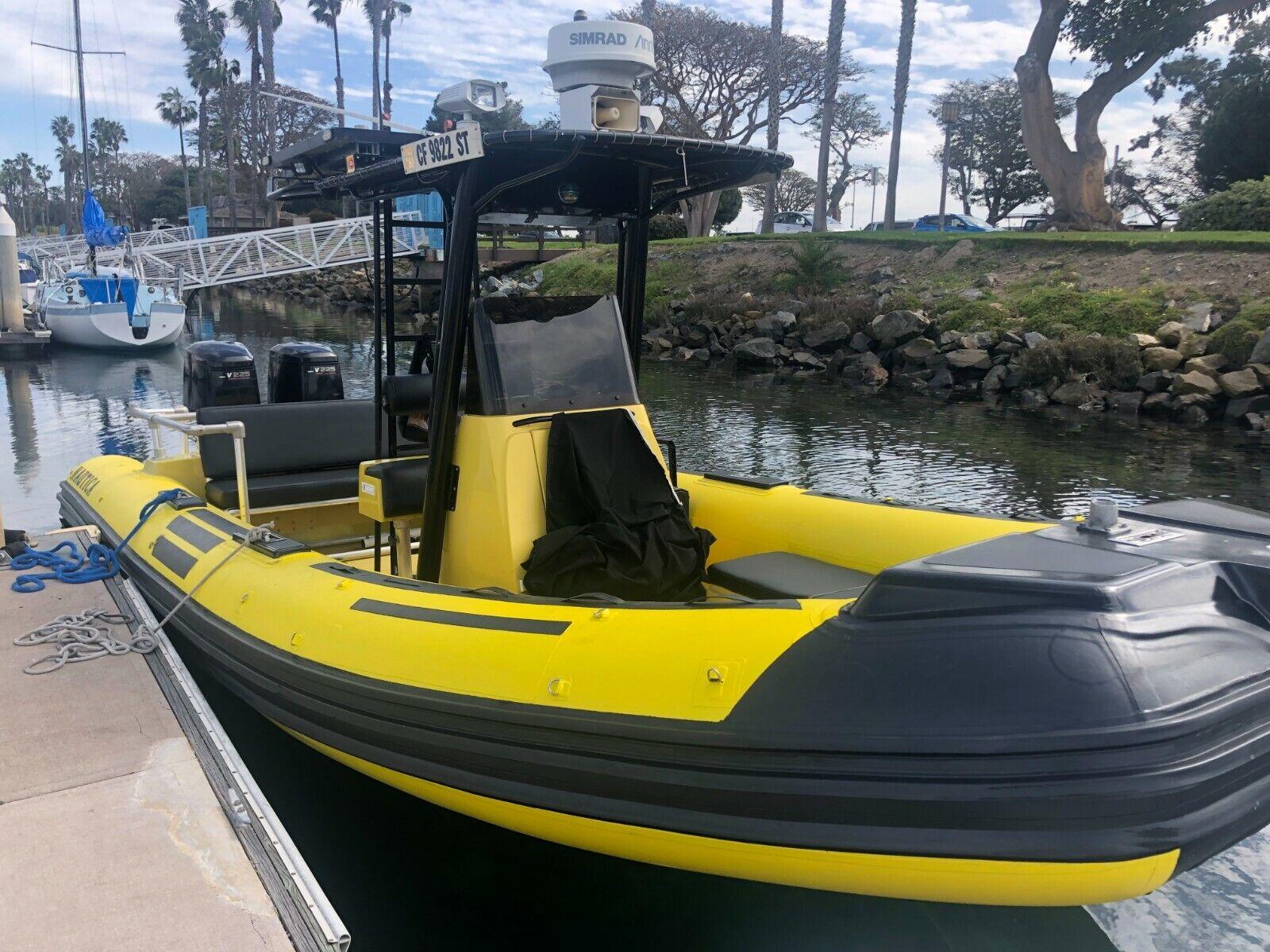2002 Nautica 25' RIB Inflatable Boat project parts Twin Yamaha 225 NO RESERVE!!!