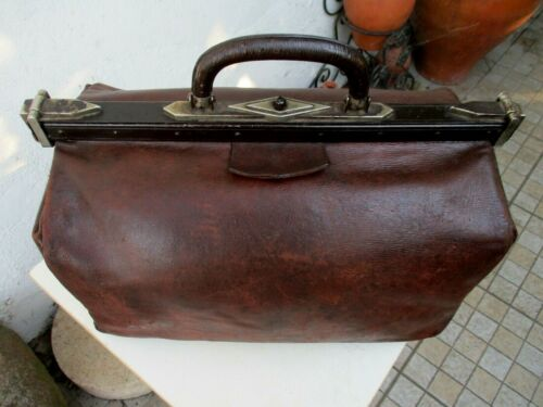 Vintage 1930s Strong & Thick Leather Rare Huge Doctor Bag Medical Medicine
