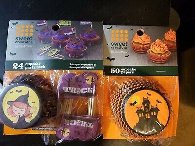 Halloween Cupcake Liners And Toppers, 74 Liners, 24 - Halloween Cupcake Liner