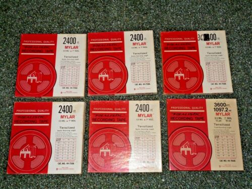 6 - REALISTIC REEL TO REEL TAPES - 3600ft AND 2400ft - EXCELLENT
