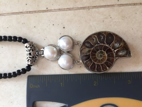 Pear and Ammonite Silver necklace