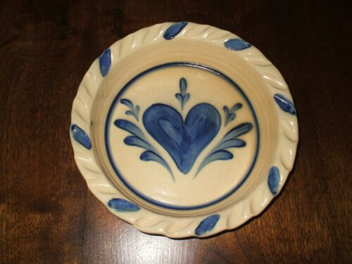 NEW Shadow Lawn Salt Glazed Deep Dish Pie Plate Crimped Edges Blue Heart