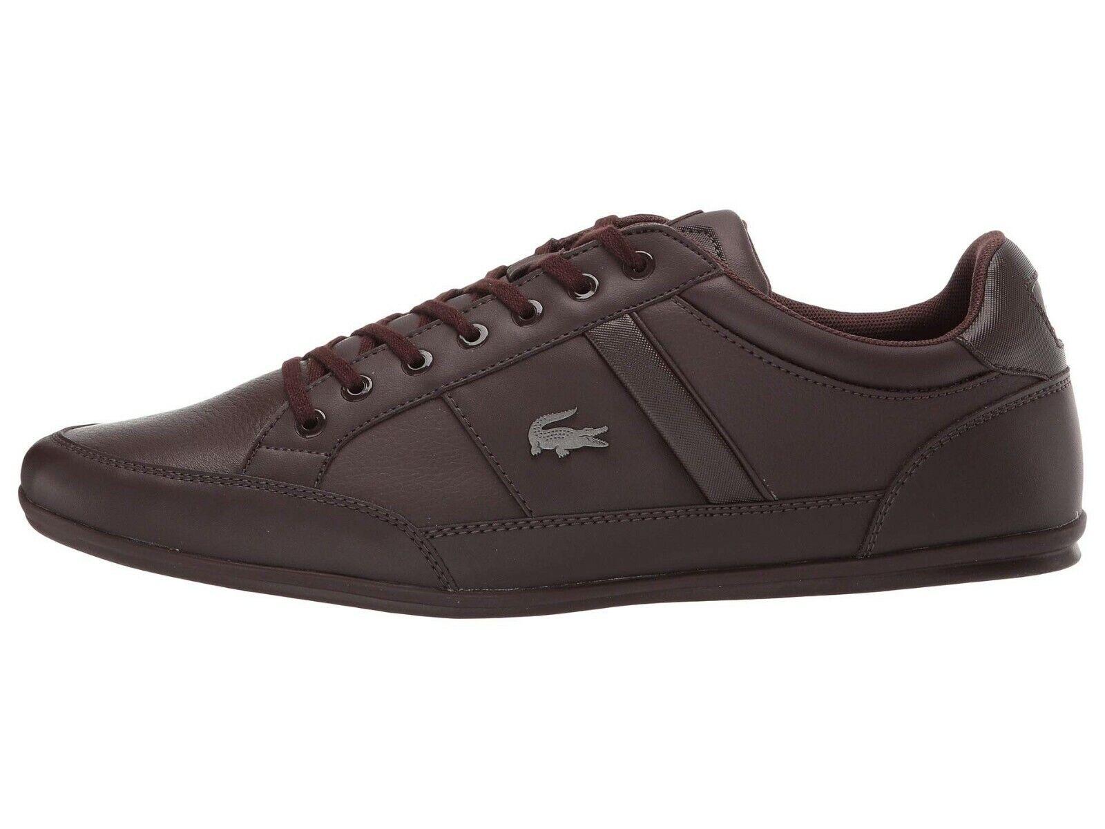 LACOSTE Chaymon BL Brown Croc Logo Leather Shoes Men's Fashion Sneakers