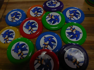 12 SONIC THE HEDGEHOG (face)mini frisbees birthday party favors, treat bag loot - Sonic Party Favors