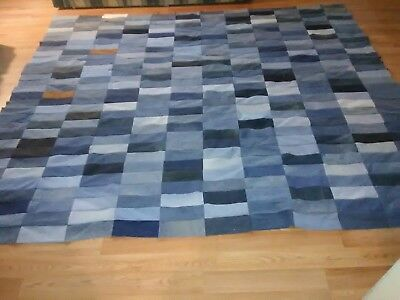 King Size Unfinished Jean/ Denim Upcycled Quilt Top 120x120