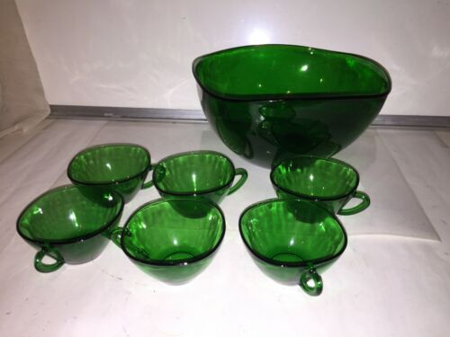 Vereco France Forest Green 7 Piece Punch Set 6 Cups & Punch Bowl