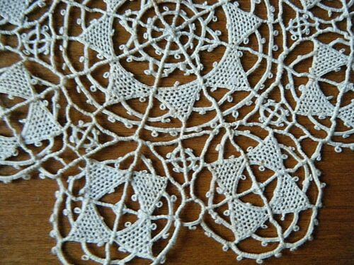 Antique rare  Pag needle lace deco style  tan color linen h done made Croatia.