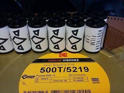 5 x Kodak Vision3 500T 35mm film movie motion stock