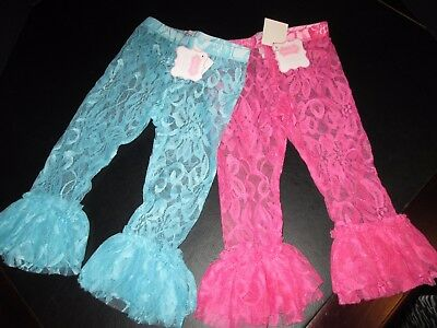 Lace Ruffled Leggings by Mud Pie, Aqua and Hot Pink, Set of 2, Size 3T, NWT](Holiday Tights And Leggings)