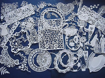 Large amount of mixed shaped Tattered Lace, Stephanie Weightman die cuts.