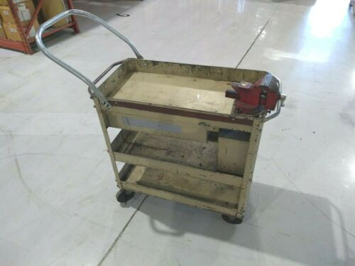 Vintage Lyon Maintenance Tool Cart with Vise, Drawer and Hidden Parts Storage