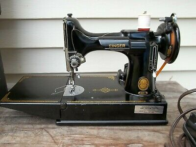 Vintage Featherweight Model 221 Singer Sewing Machine in Case + Attachments