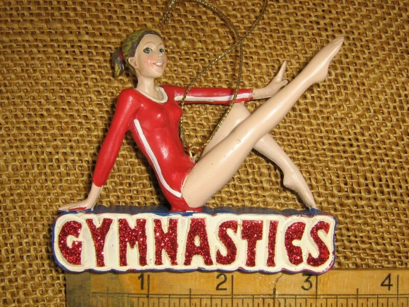 Kurt Adler Female Girl Gymnast Posing On Beam Gymnastics Figurine Ornament NEW