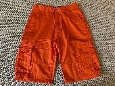 New Men's All Nation 1994 Tangerine Orange Cargo Flap Pocket Shorts SIZES (Cargo Flap Pocket Shorts)