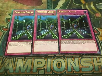 Yu-Gi-Oh Fiendish Chain AP08-EN003! Ultimate Rare! X3!!