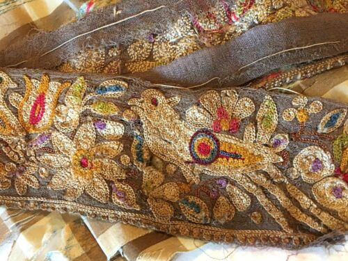 Antique 19th C Hand Embroidered Silk Trim Ribbon Birds Flowers