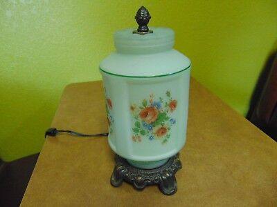 Vintage Antique Frosted Green Glass Table Lamp Dresser Boudoir Victorian Roses