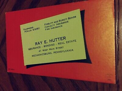Vintage INK BLOTTER AD card Ray E. Hutter Insurance, Bonding, Real Estate #2
