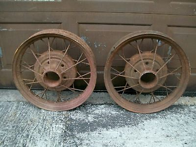 "RAT ROD VINTAGE NOSTALGIC MODEL ""A"" FORD 19"" SPOKE WHEELS  (2) 1 PAIR! ""HOT ROD"""