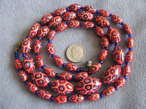 """Rare 30.5"""" Vintage Venetian Murano Millefiori Glass Bead Necklace Moretti"""