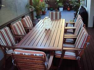 Outdoor 8 seater dining table with chairs & cushions Dicky Beach Caloundra Area Preview