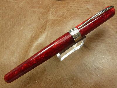Rhodium Trim Fountain Pen (Pineider Avatar Lipstick Red Rhodium Trim Fountain Pen  Made in Italy Medium)