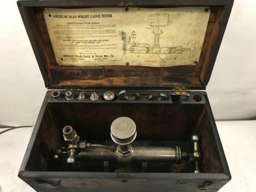Vintage American Steam Gauge & Valve Dead Weight Gauge Tester in Wood Box (B87)