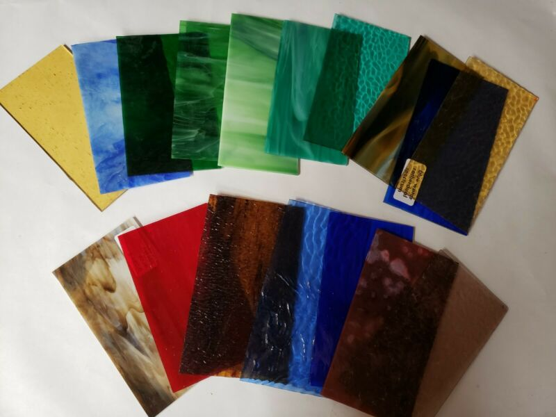 "Assorted Stained Glass Sheets 11pcs- 7"" by 4"" #1605"